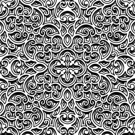bas relief: Black and white swirly ornament, vintage seamless pattern