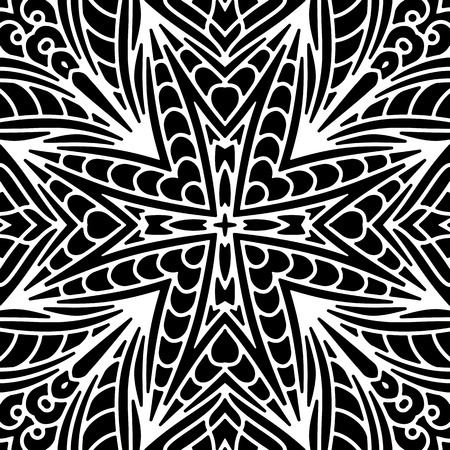 Abstract black and white ornament, seamless lace pattern Vector