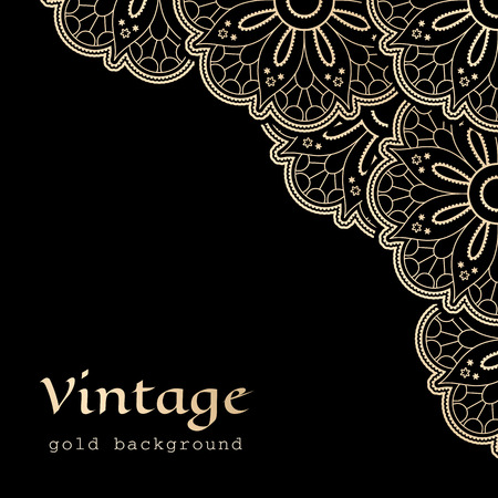 Vintage gold background with corner lace ornament