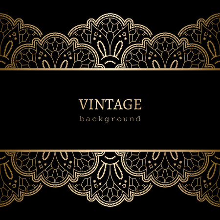 Vintage gold background, ornamental frame with seamless lace borders Vector