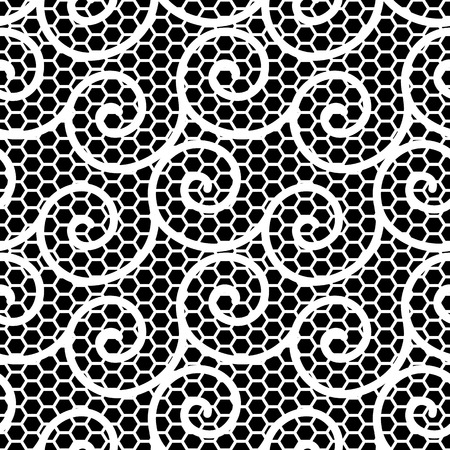Abstract black and white ornament, lace texture, wavy seamless pattern Vector
