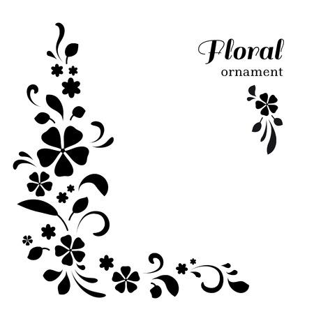 Abstract floral hoek ornament op een witte achtergrond Vector Illustratie