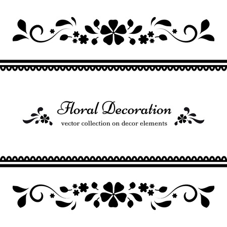 Black and white background, ornamental divider, abstract floral frame