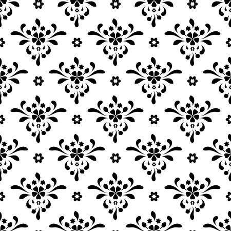 Black and white seamless pattern, abstract floral ornament Vector
