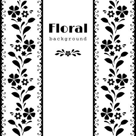 lineas verticales: Fondo blanco y negro, marco floral abstracto con las fronteras ornamentales Vectores