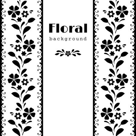 Black and white background, abstract floral frame with ornamental borders