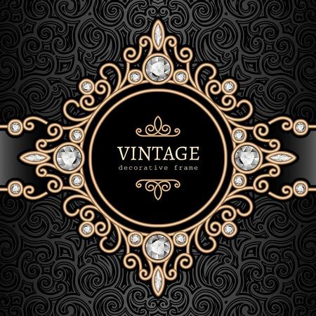 elegant border: Vintage gold background, diamond vignette, swirly jewelry frame