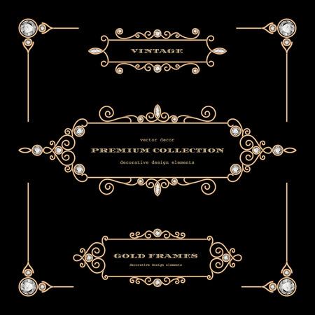 Vintage gold jewelry frames, set of filigree vignettes, labels, chapter dividers on black