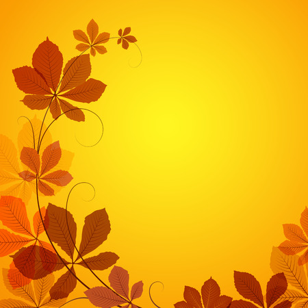 Abstract autumn background with yellow chestnut leaves Vector