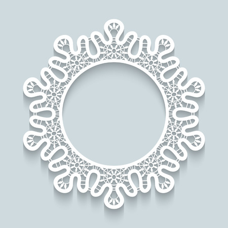 round collar: Paper lace background, round vignette, ornamental lacy frame