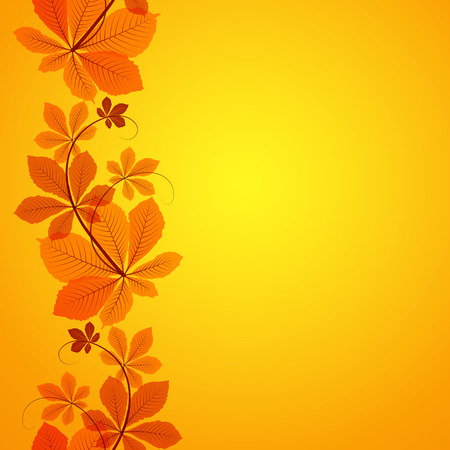 Abstract autumn background, seamless border ornament with yellow chestnut leaves Illustration