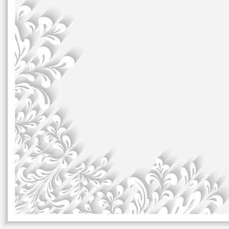 Abstract herbal background with paper swirls, decorative corner ornament Illustration