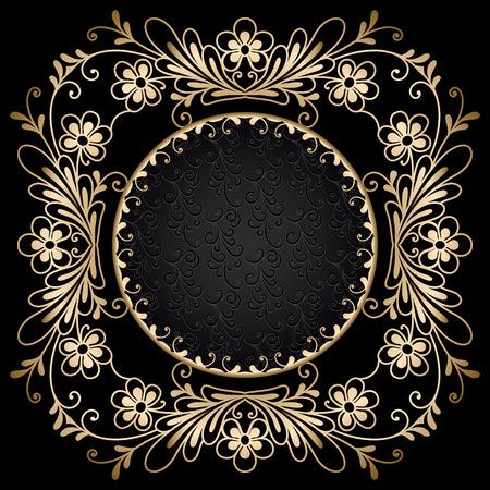 gold circle: Vintage gold circle frame on black background