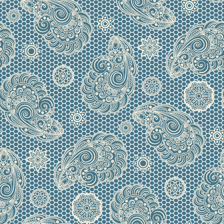 guipure: Abstract paisley ornament, lace texture, seamless pattern Illustration
