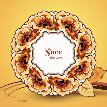 Autumn background, save the date card, decorative circle frame Vector
