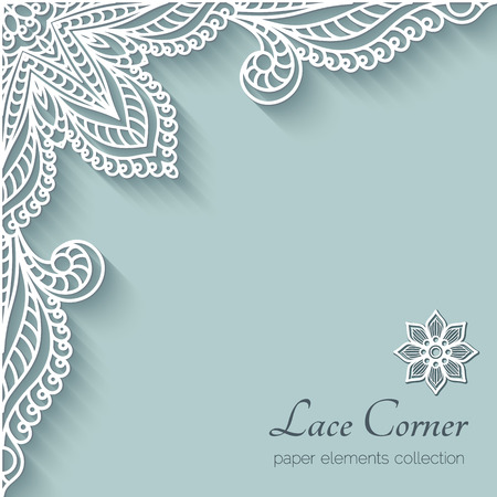 ornament paper: Paper background with lace corner ornament