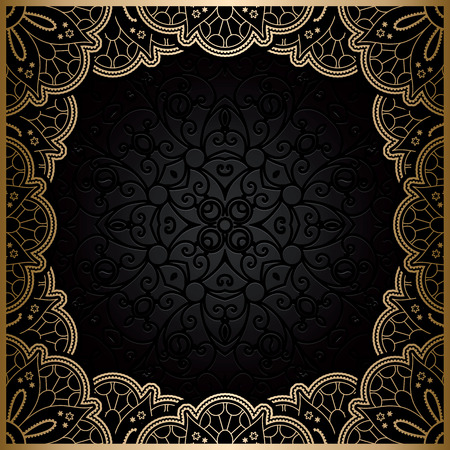Vintage gold background, square ornamental  lace frame