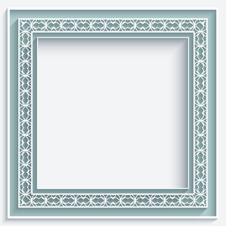 Square frame with paper lace decoration, ornamental lacy background Vector