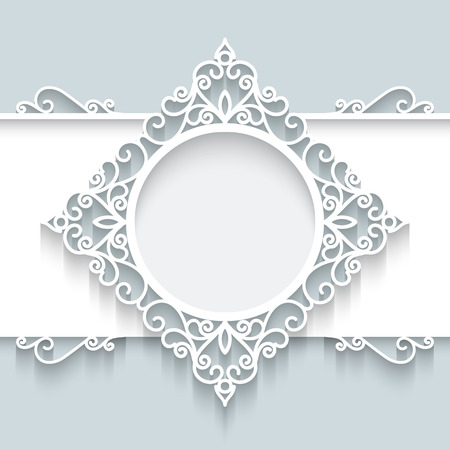Paper frame with shadow, ornamental lacy label on gray background