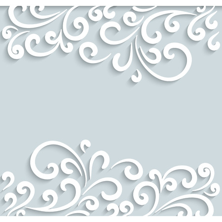 Abstract swirly frame, ornamental background with border paper scrolls