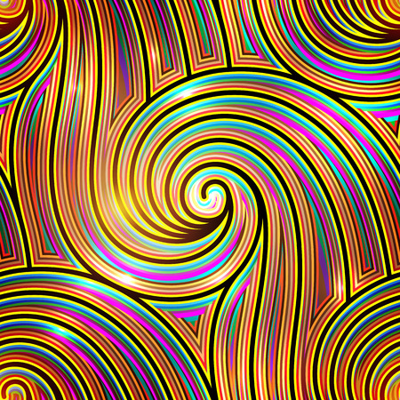 Colorful wavy ornament, abstract golden waves, seamless pattern Vector