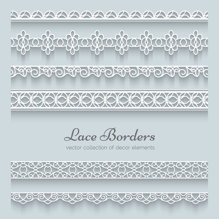 lace filigree: Set of lace borders with shadows, ornamental paper lines