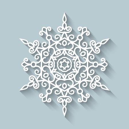 Paper lace doily, decorative ornamental snowflake Vector