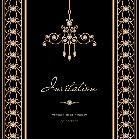 vertical dividers: Vintage gold frame, invitation template with jewelry borders on black background Illustration