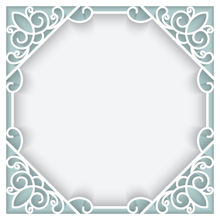 Square cutout paper lace frame, ornamental background