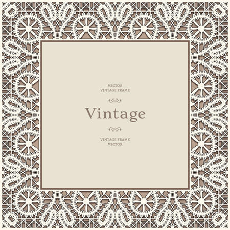 Square lace frame, vintage lacy background Vector
