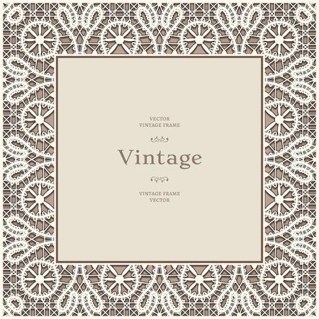 Square lace frame, vintage lacy background Illustration
