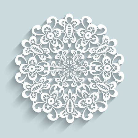 Paper lace doily, round crochet ornament Vector