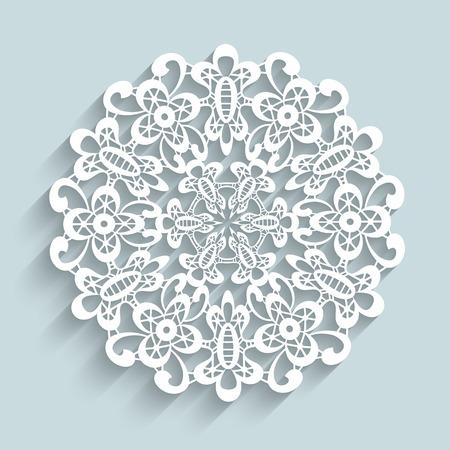Paper lace doily, round crochet ornament Çizim