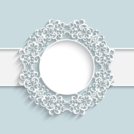 Paper frame with ornamental lace border,  round vignette, lacy label on white background 向量圖像
