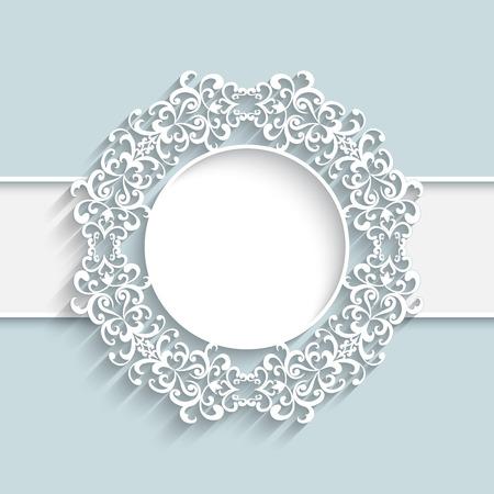 Paper frame with ornamental lace border,  round vignette, lacy label on white background Ilustração