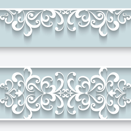 Paper lace background, ornamental frame with lacy seamless borders Фото со стока - 33676945