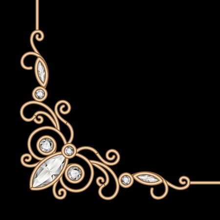ornament  jewellery: Vintage gold background, jewelry corner ornament on black Illustration