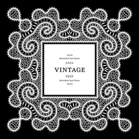 tatting: White lace, ornamental square frame