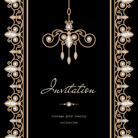 vertical dividers: Vintage gold frame, save the date, invitation template with jewelry borders on black background