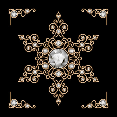 gold jewelry: Vintage gold jewelry snowflake decoration on black