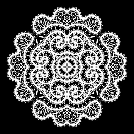 White round lace ornament on black, handmade lacy doily decoration Vector