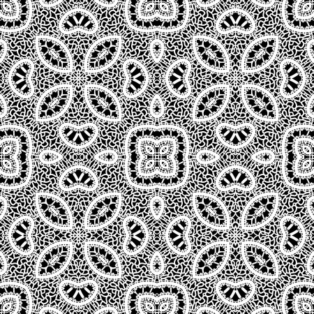 Black and white lacy ornament, handmade tatting lace texture, seamless pattern Vector