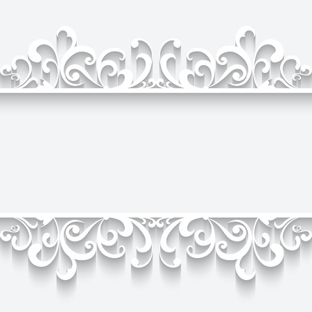 Abstract white paper frame with swirly border ornament