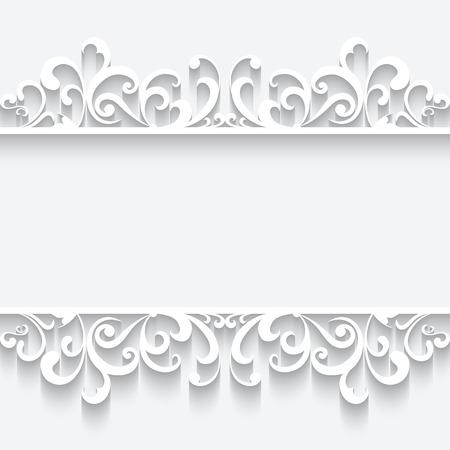 lace: Marco de papel blanco de fondo con ornamento frontera swirly