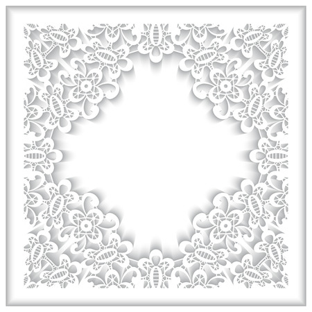 White lace frame with paper swirls, lacy cover, ornamental background