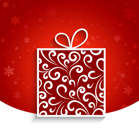Ornamental gift box, winter background Vector