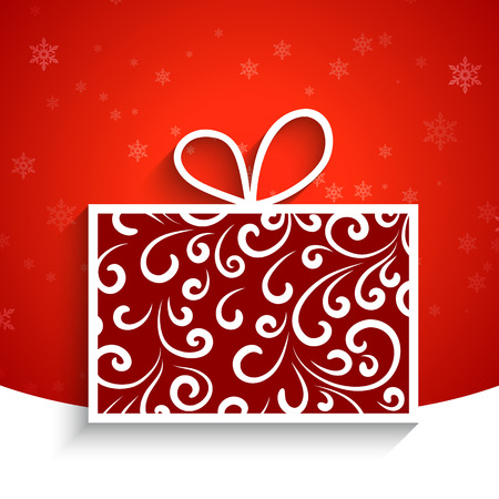 Decorative swirly gift box, winter background Vector