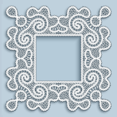 Square ornamental picture frame with realistic tatting lace border Vector