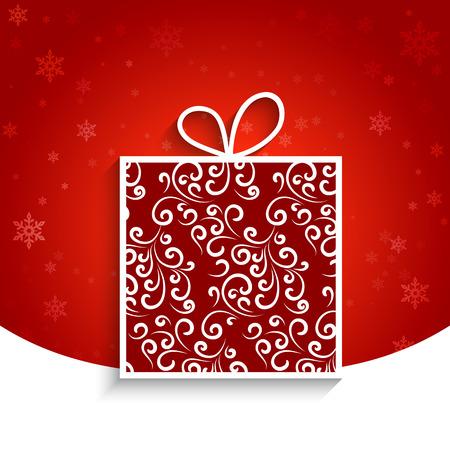 Ornamental gift box, winter background Vector