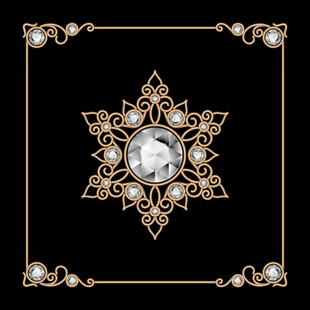 gold jewelry: Vintage gold jewelry snowflake, brooch, diamond decoration on black